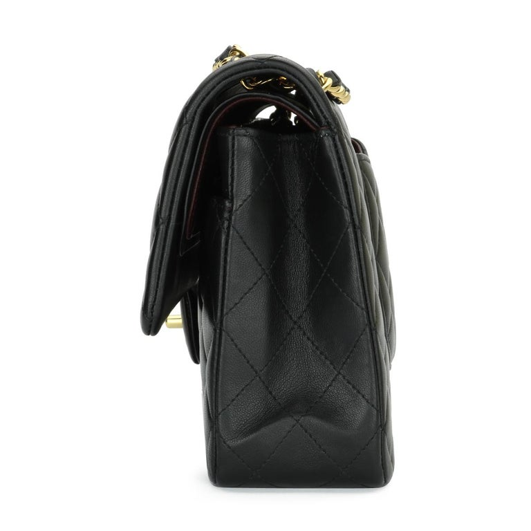 CHANEL Classic Double Flap Bag Medium Black Lambskin with Gold Hardware 2017 For Sale 2