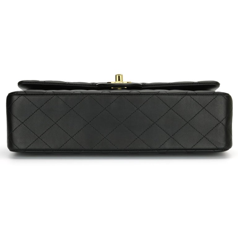 CHANEL Classic Double Flap Bag Medium Black Lambskin with Gold Hardware 2017 For Sale 3