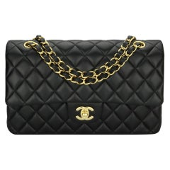 CHANEL Classic Double Flap Bag Medium Black Lambskin with Gold Hardware 2017
