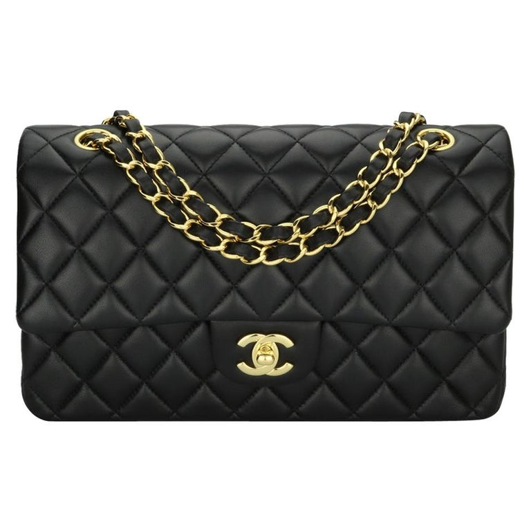 CHANEL Classic Double Flap Bag Medium Black Lambskin with Gold Hardware 2017 For Sale