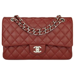 CHANEL Classic Double Flap Bag Medium Burgundy Caviar with Silver Hardware 2014