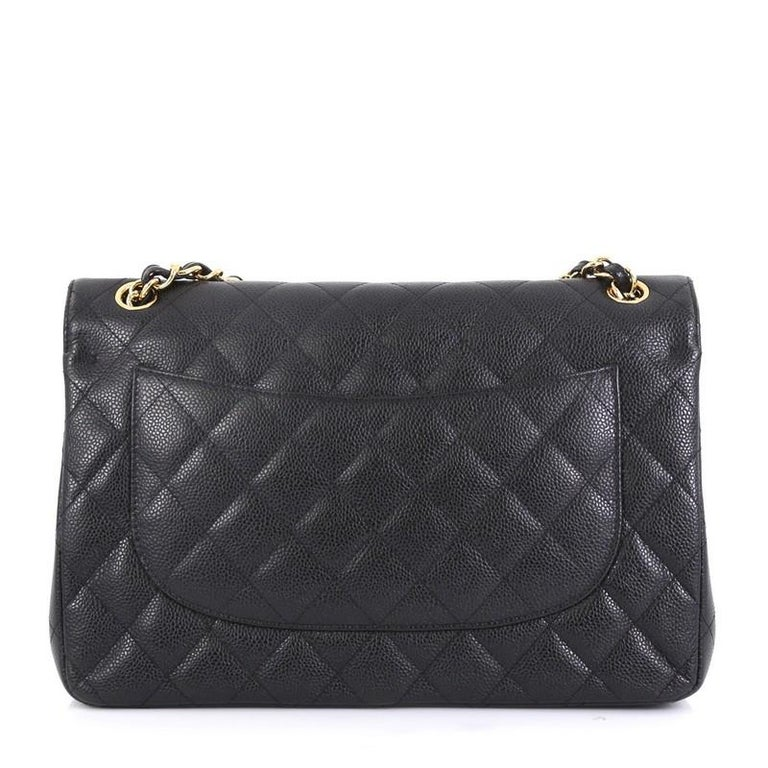 Black Chanel Classic Double Flap Bag Quilted Caviar Jumbo
