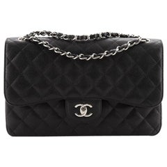Chanel Classic Double Flap Bag Quilted Caviar Jumbo