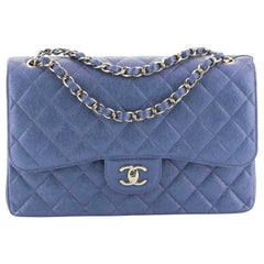 Chanel Classic Double Flap Bag Quilted Iridescent Caviar Jumbo
