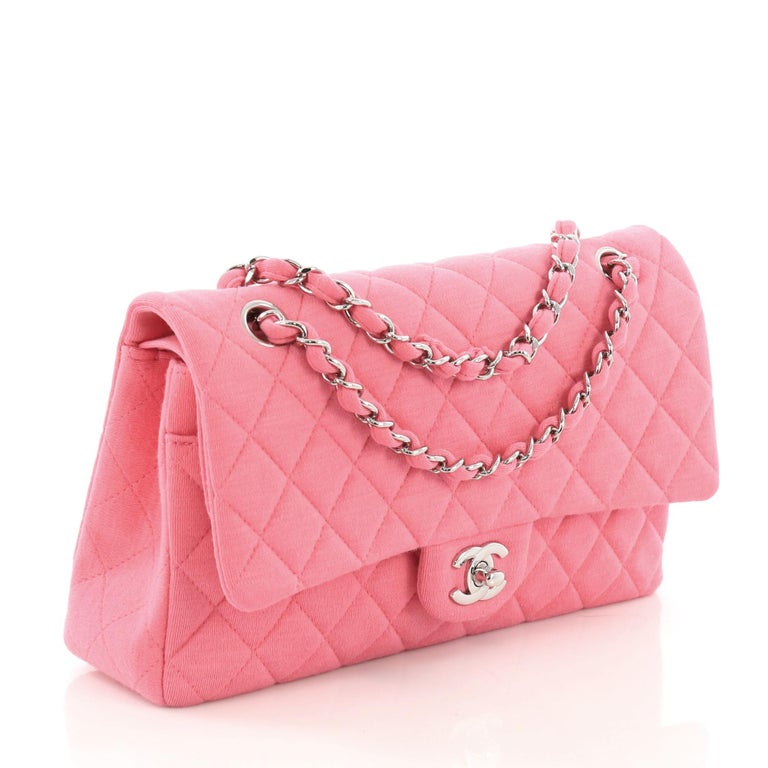 aecafe853de9 Pink Chanel Classic Double Flap Bag Quilted Jersey Medium For Sale
