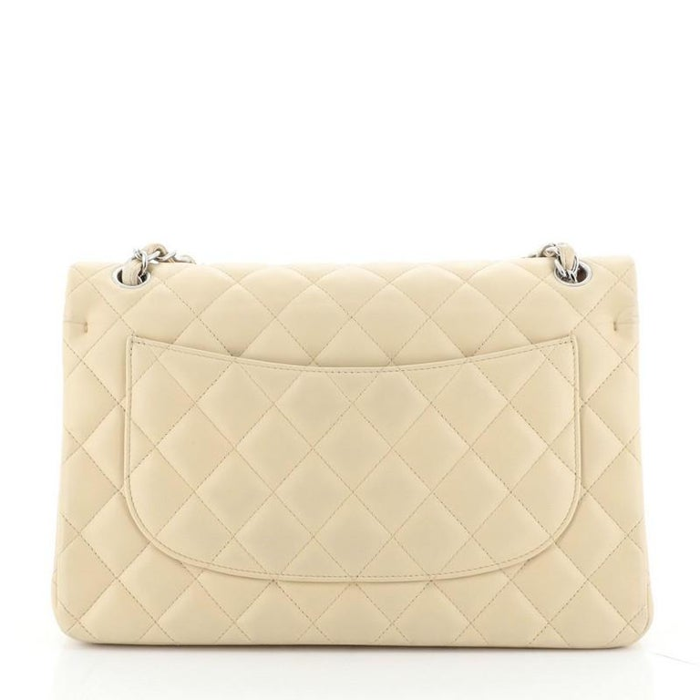 Chanel Classic Double Flap Bag Quilted Lambskin Jumbo In Fair Condition For Sale In New York, NY