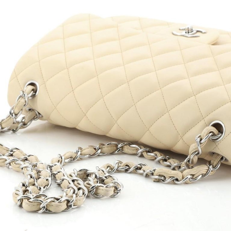 Chanel Classic Double Flap Bag Quilted Lambskin Jumbo For Sale 3
