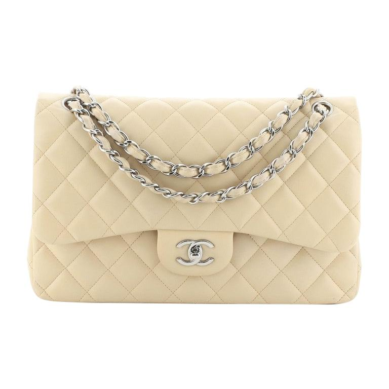 Chanel Classic Double Flap Bag Quilted Lambskin Jumbo For Sale