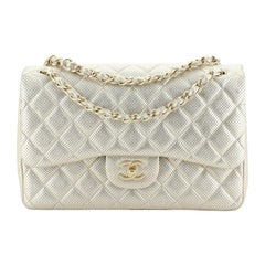 Chanel Classic Double Flap Bag Quilted Perforated Lambskin Jumbo