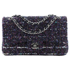 Chanel Classic Double Flap Bag Quilted Tweed and Ribbon Medium
