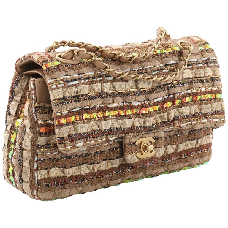 50736c0c2723 Chanel Classic Double Flap Bag Quilted Tweed and Ribbon Medium For Sale