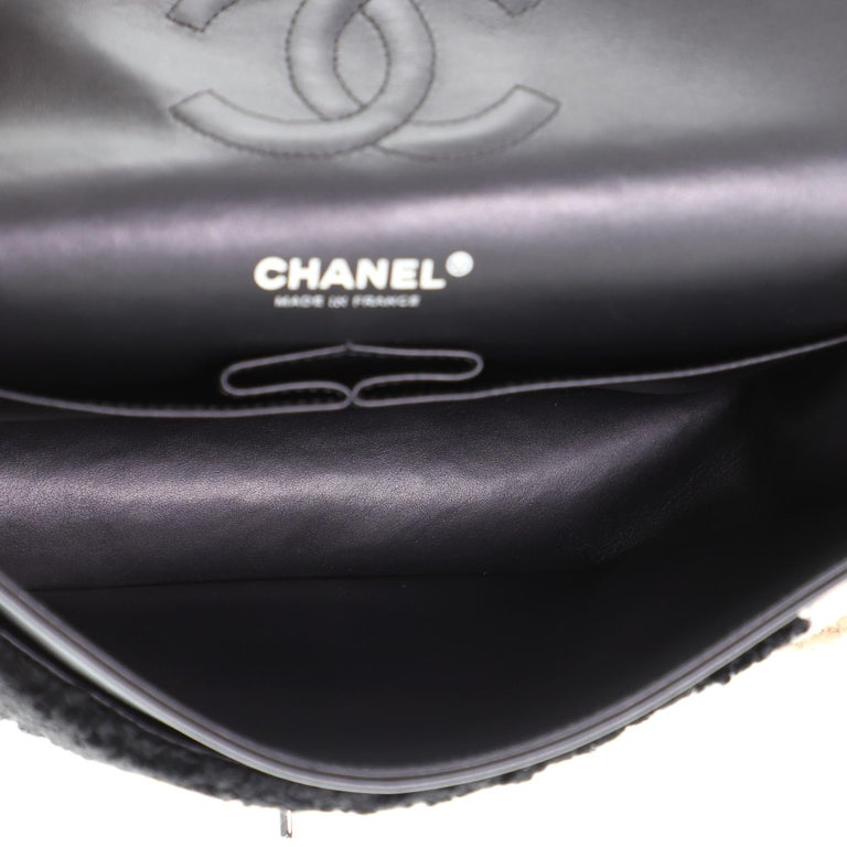 Chanel Classic Double Flap Bag Shearling Medium For Sale 2