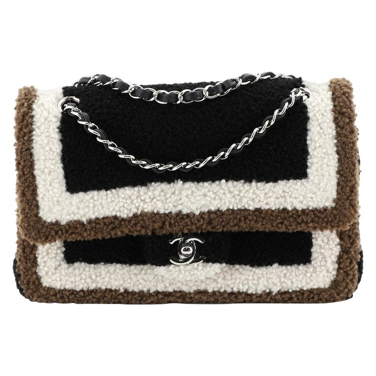 Chanel Classic Double Flap Bag Shearling Medium For Sale