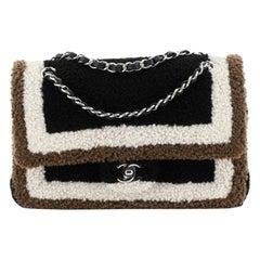 Chanel Classic Double Flap Bag Shearling Medium