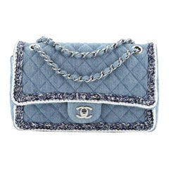 Chanel Classic Double Flap Bag Tweed With Denim Medium