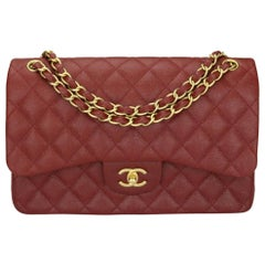 CHANEL Classic Double Flap Jumbo Bag Iridescent Burgundy Caviar w/GHW 2018
