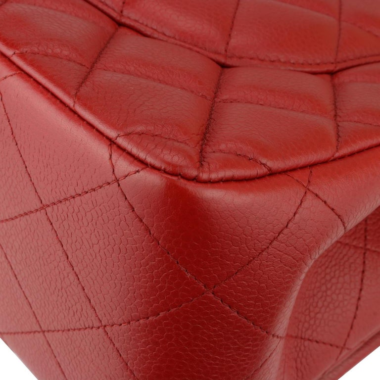 CHANEL Classic Double Flap Jumbo Bag Red Soft Caviar with Silver Hardware 2011 For Sale 7