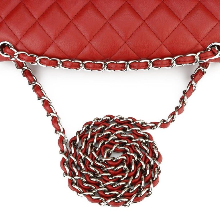 CHANEL Classic Double Flap Jumbo Bag Red Soft Caviar with Silver Hardware 2011 For Sale 8