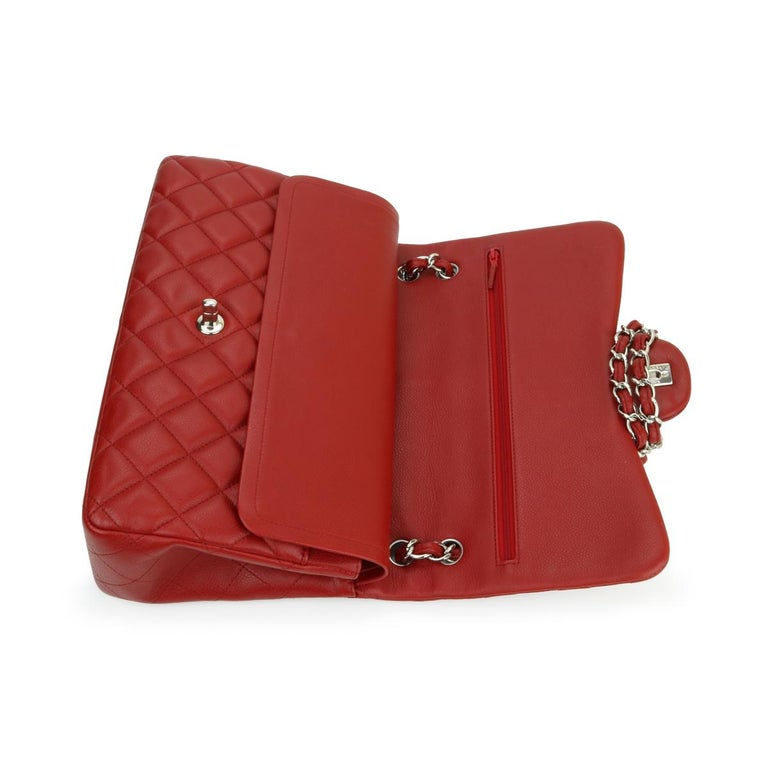 CHANEL Classic Double Flap Jumbo Bag Red Soft Caviar with Silver Hardware 2011 For Sale 9