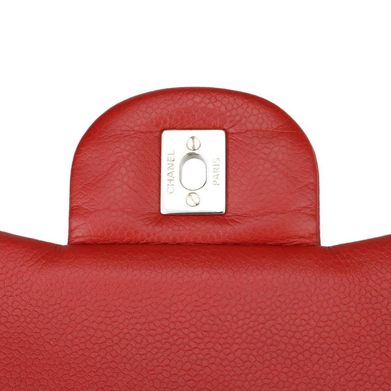 CHANEL Classic Double Flap Jumbo Bag Red Soft Caviar with Silver Hardware 2011 For Sale 10