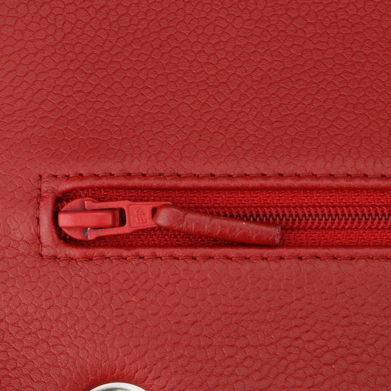 CHANEL Classic Double Flap Jumbo Bag Red Soft Caviar with Silver Hardware 2011 For Sale 11
