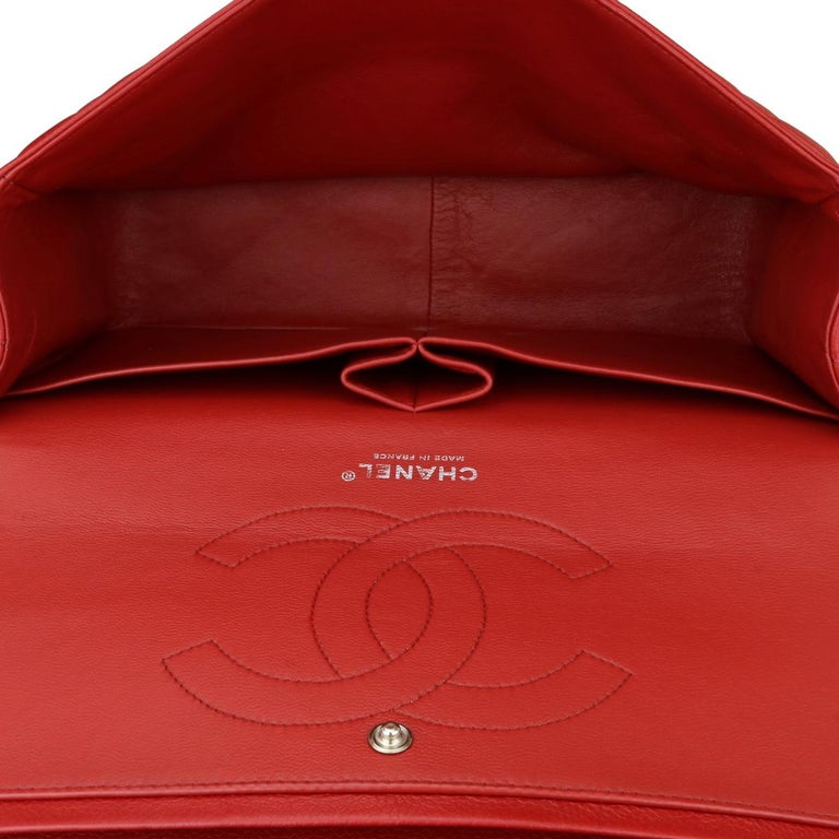 CHANEL Classic Double Flap Jumbo Bag Red Soft Caviar with Silver Hardware 2011 For Sale 12