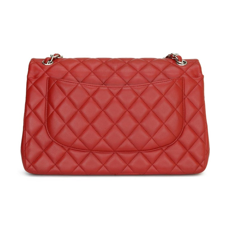CHANEL Classic Double Flap Jumbo Bag Red Soft Caviar with Silver Hardware 2011 In Good Condition For Sale In Huddersfield, GB
