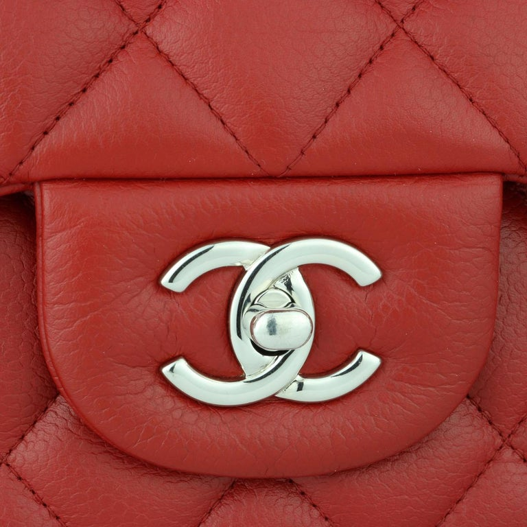 Women's or Men's CHANEL Classic Double Flap Jumbo Bag Red Soft Caviar with Silver Hardware 2011 For Sale