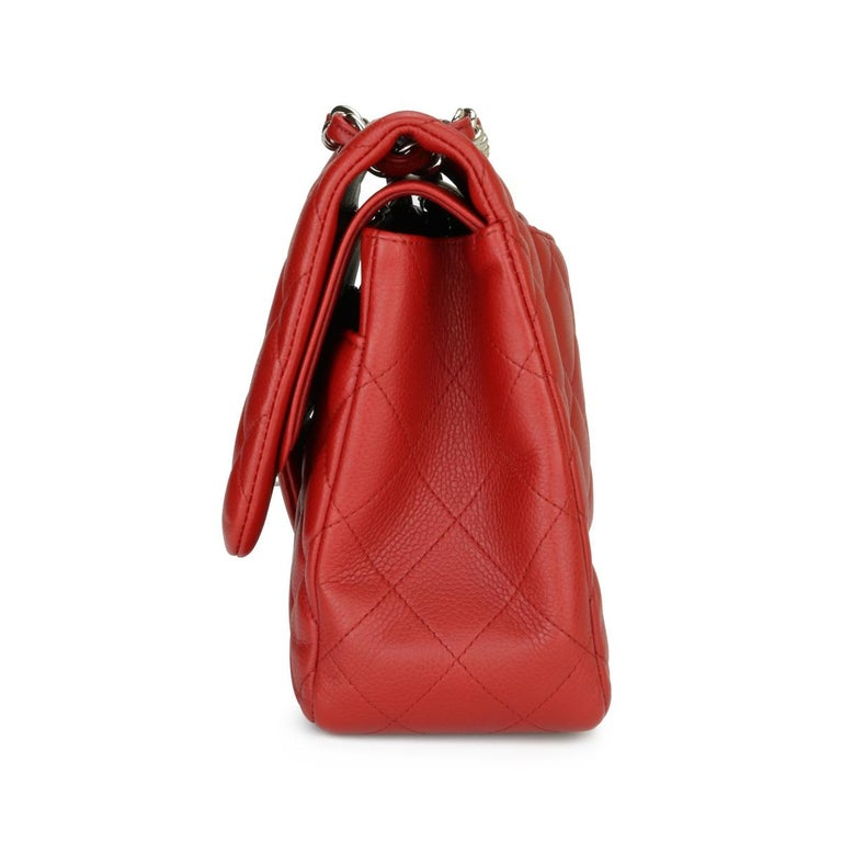 CHANEL Classic Double Flap Jumbo Bag Red Soft Caviar with Silver Hardware 2011 For Sale 1