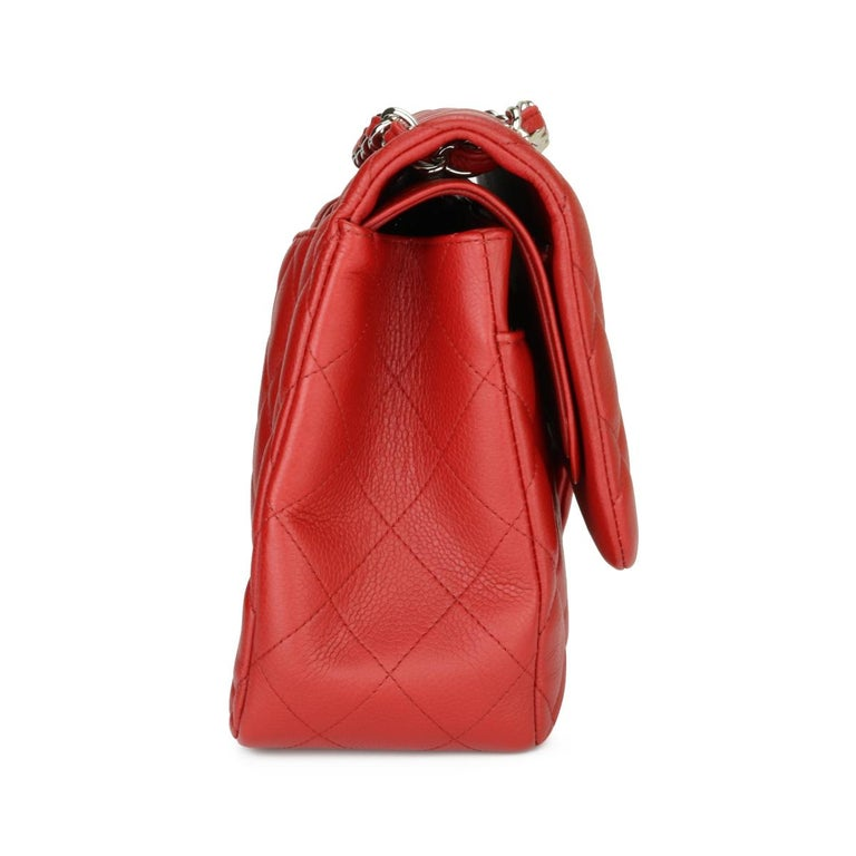CHANEL Classic Double Flap Jumbo Bag Red Soft Caviar with Silver Hardware 2011 For Sale 2