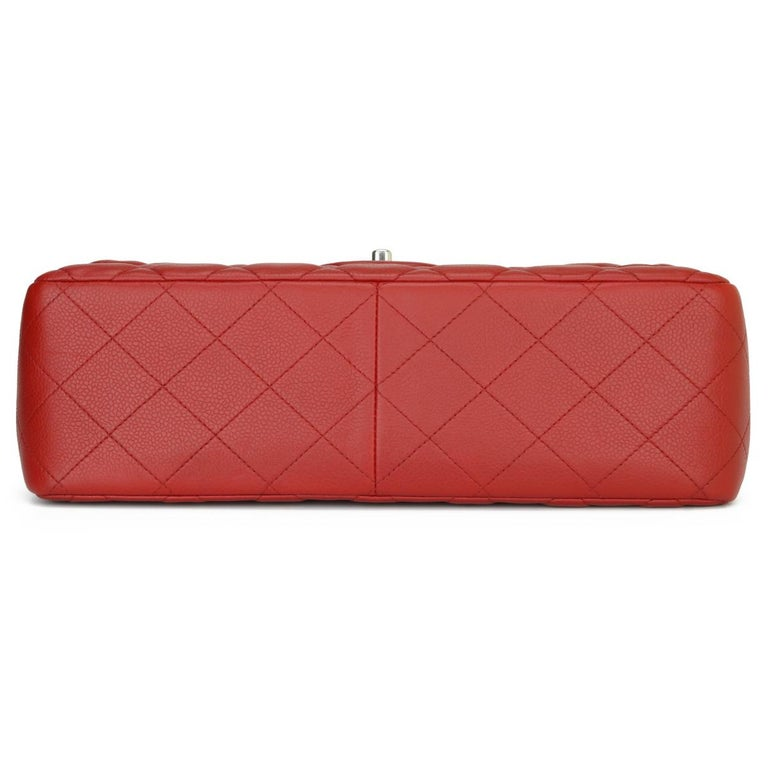 CHANEL Classic Double Flap Jumbo Bag Red Soft Caviar with Silver Hardware 2011 For Sale 3
