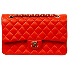 Chanel Classic Double Flap Red Lambskin Leather Bag