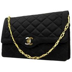 Chanel Classic Flap 221856 Black Quilted Satin Shoulder Bag