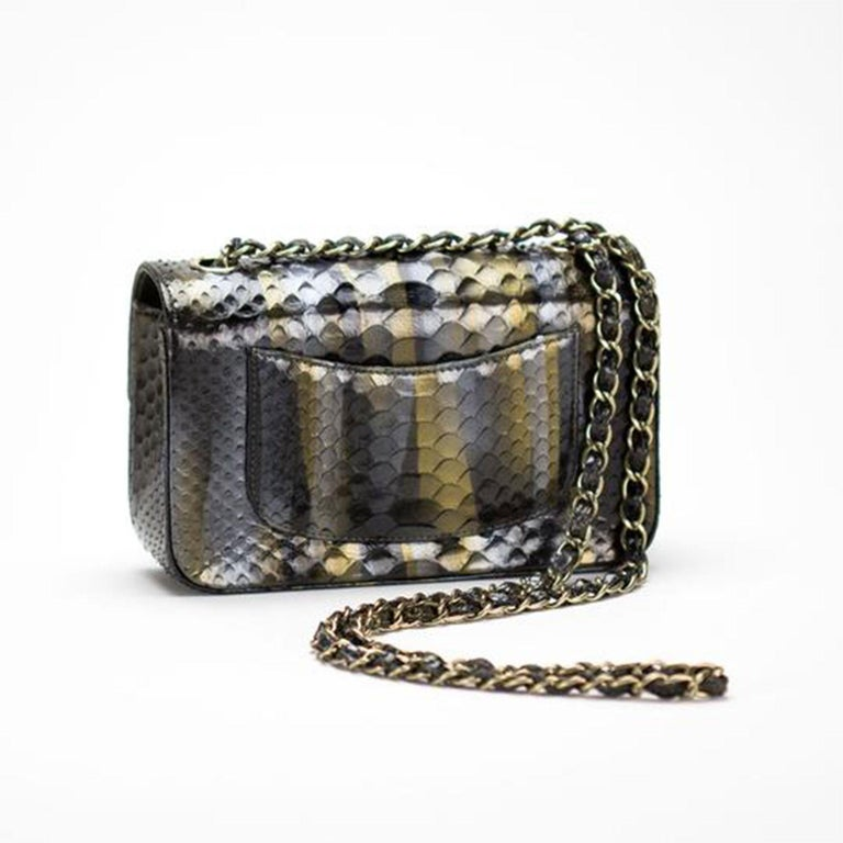 Black Chanel Ombré Python Exotic Snakeskin Rare Classic Flap For Sale