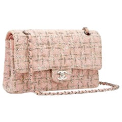 Chanel Classic Flap 2.55 Baby Pink Tweed Shoulder Bag