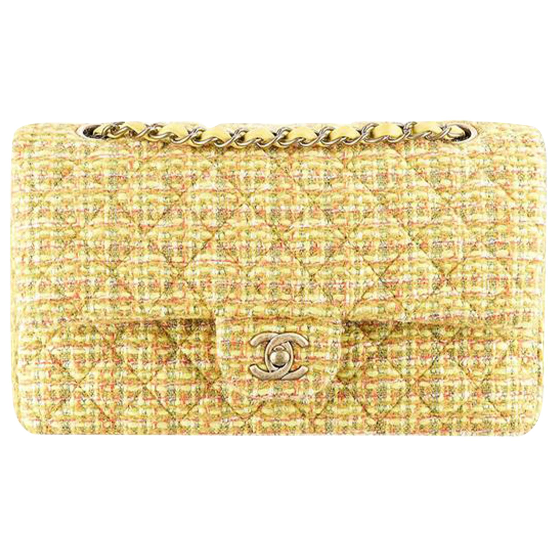 Chanel Classic Flap 2.55 Reissue Fall 2014 Yellow Tweed Shoulder Bag