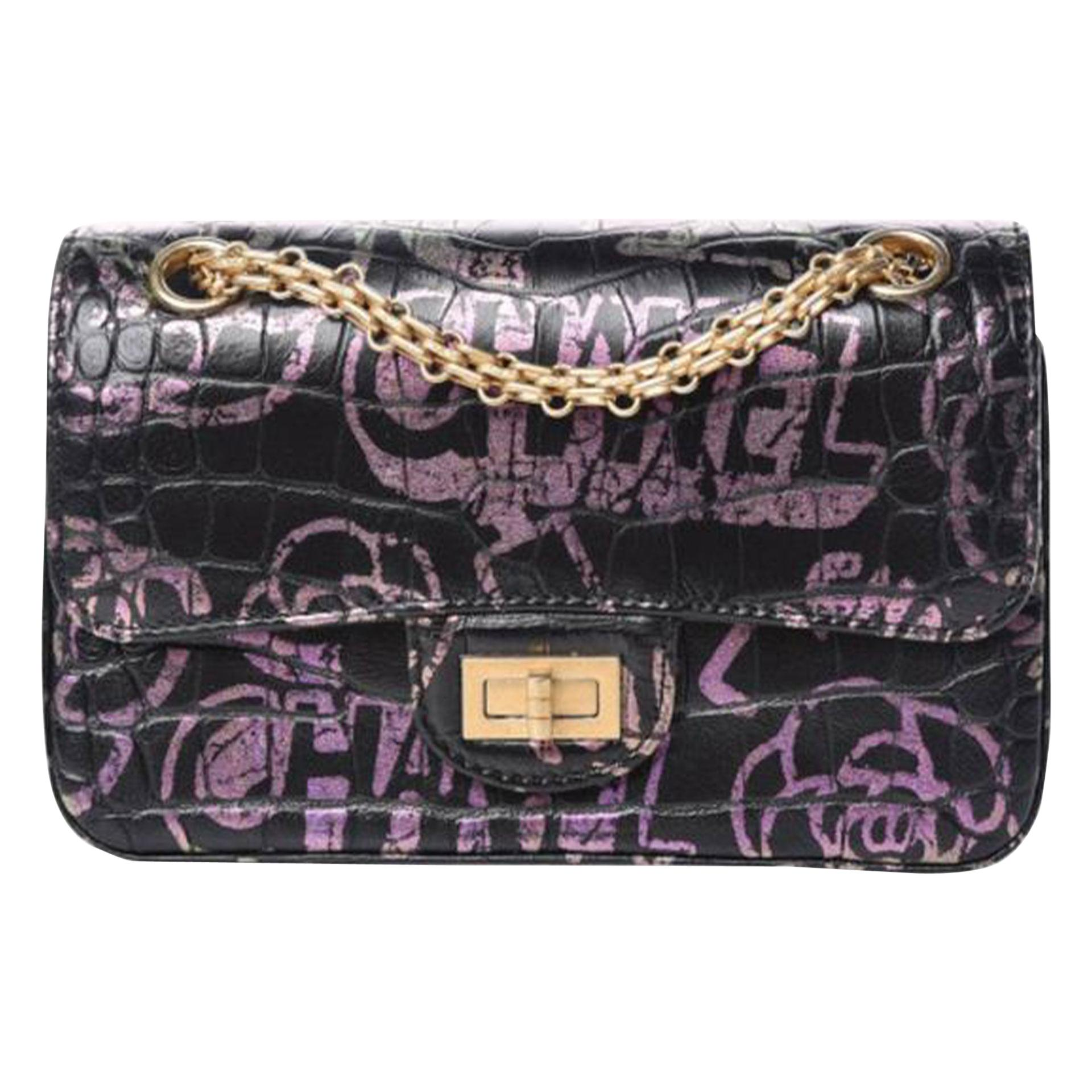 Chanel Classic Flap 2.55 Reissue Graffiti Crocodile Embossed Mini Cocodile Bag