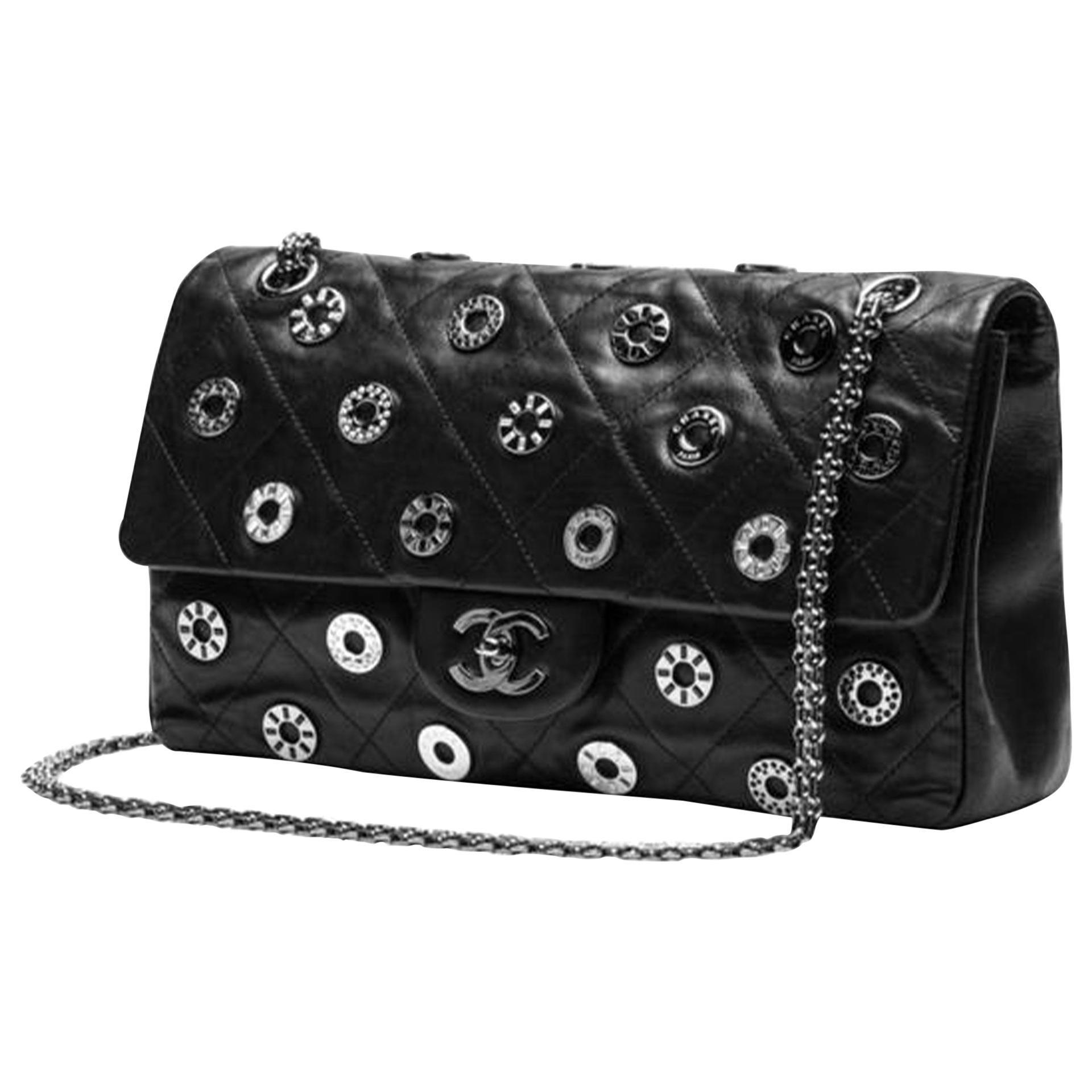 Chanel Classic Flap 2.55 Reissue Runway Rare Swarovski Lucky Charms Black Bag
