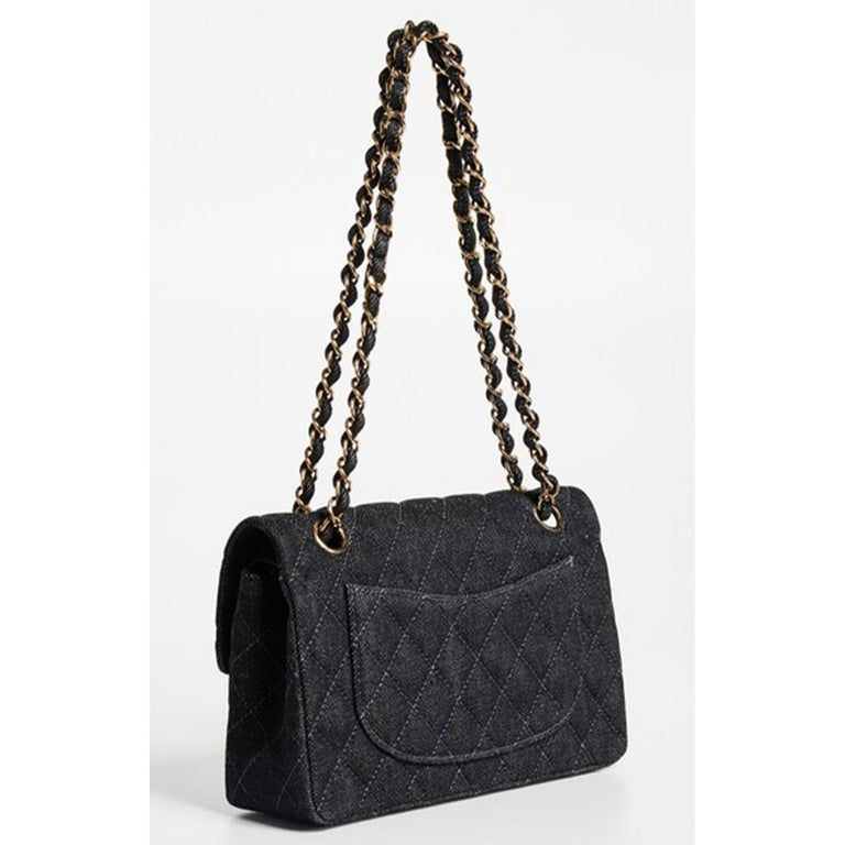 Black Chanel Rare Vintage Small Denim Quilted Classic Flap Bag For Sale