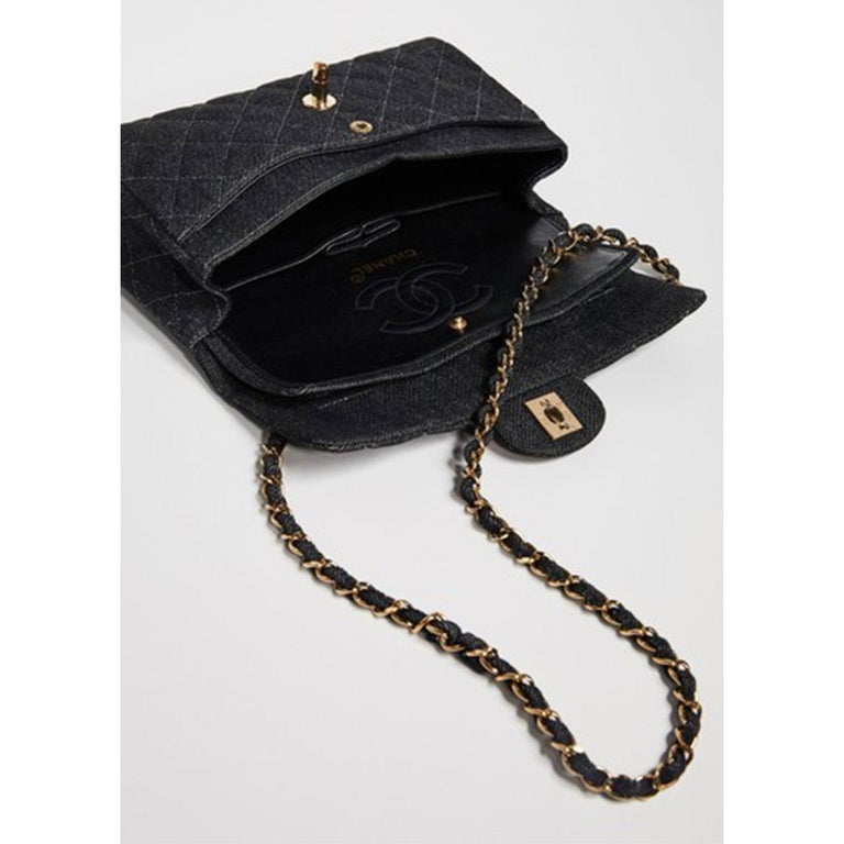 Chanel Rare Vintage Small Denim Quilted Classic Flap Bag In Good Condition For Sale In Miami, FL