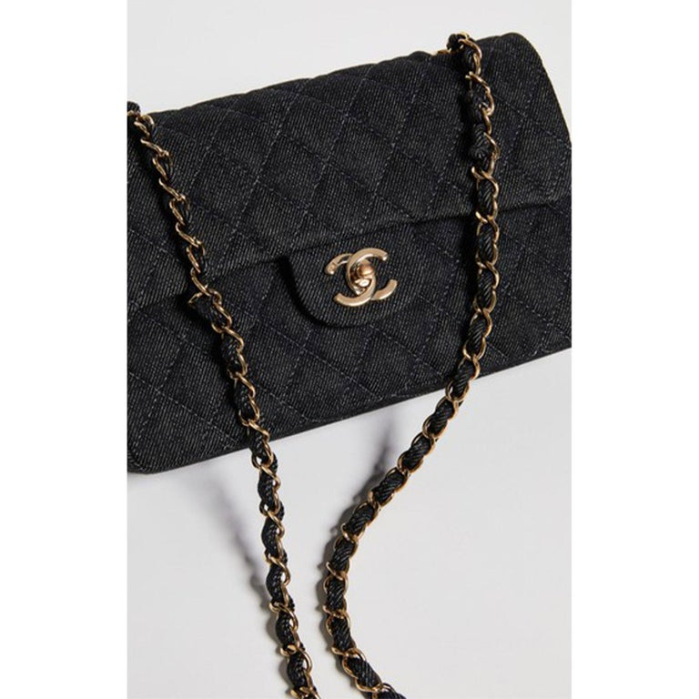Women's or Men's Chanel Rare Vintage Small Denim Quilted Classic Flap Bag For Sale