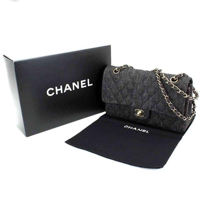 Chanel Rare Vintage Small Denim Quilted Classic Flap Bag For Sale 1