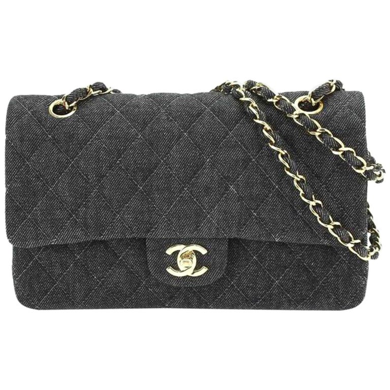 Chanel Rare Vintage Small Denim Quilted Classic Flap Bag For Sale