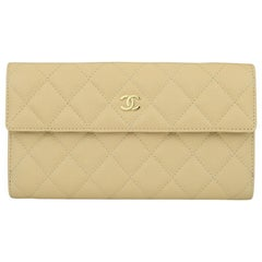 CHANEL Classic Flap Bifold Wallet Beige Caviar with Gold Hardware 2012