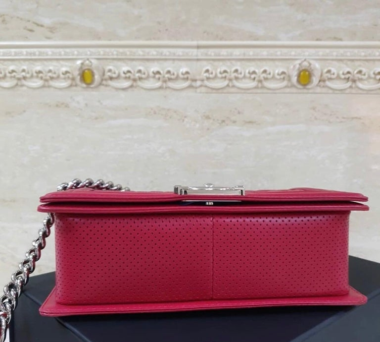 Women's Chanel Classic Flap Boy Perforated Medium Red Leather  For Sale