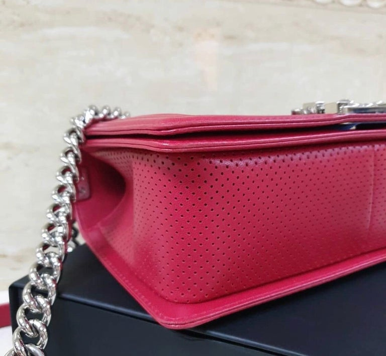 Chanel Classic Flap Boy Perforated Medium Red Leather  For Sale 1