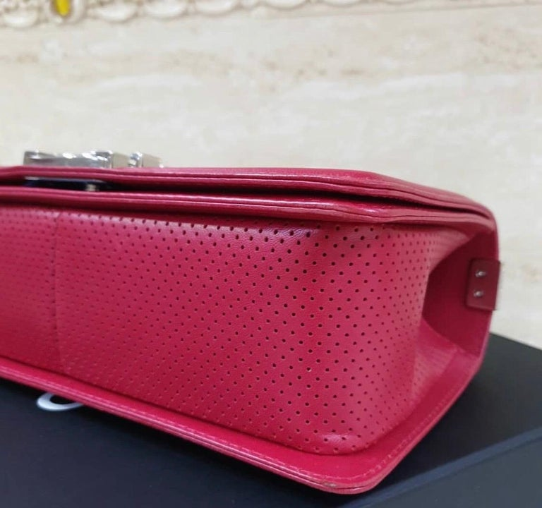 Chanel Classic Flap Boy Perforated Medium Red Leather  For Sale 2