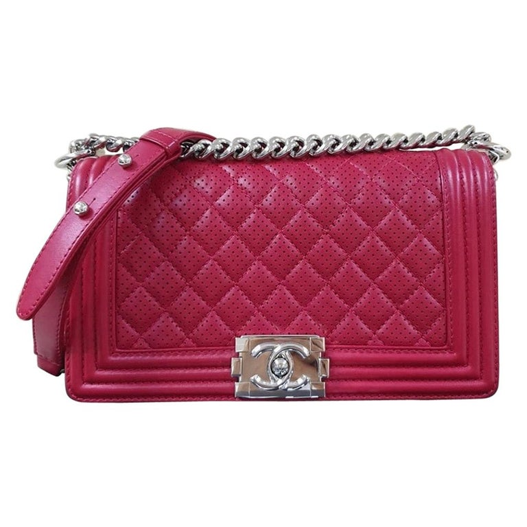 Chanel Classic Flap Boy Perforated Medium Red Leather  For Sale