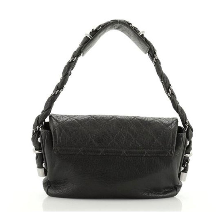 Chanel Classic Flap Braid Quilted Small Black Distressed Lambskin Shoulder Bag In Good Condition For Sale In Miami, FL