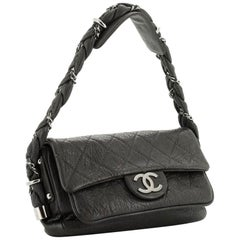 Chanel Classic Flap Braid Quilted Small Black Distressed Lambskin Shoulder Bag